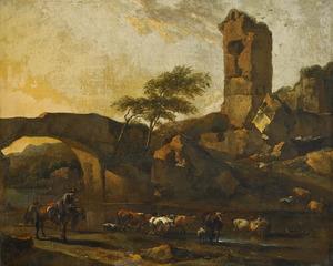 Landschap met een ruïne en koeien die een rivier oversteken