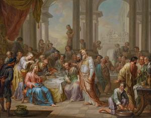 Een vrouw zalft Christus hoofd met mirre tijdens het gastmaal van Simon de melaatse (Matteüs 26:6-16)