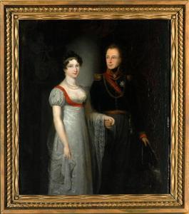 Dubbelportret van koning Willem II (1792-1849) en koningin Anna Paulowna (1795-1865) als kroonprinselijk paar