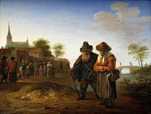 Landschap met oud boerenechtpaar met op de achtergrond een uitdeling bij een kloosterpoort