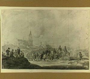 Scheveningen, vissersvolk en ruiters op het strand