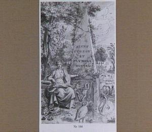 Allegorie op de kunsten in een landschap met zwanen en obelisk