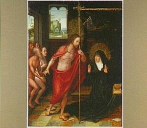 Christus verschijnt aan Maria na zijn terugkeer uit het dodenrijk. Op de achtergrond Golgota en de drie Maria's bij het graf