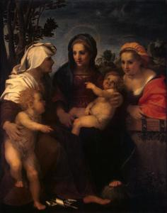 De maagd Maria en het Kind met de heilige Catharina , de heilige Elizabeth en Johannes de Doper