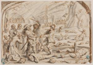 Historische scène met massa executies