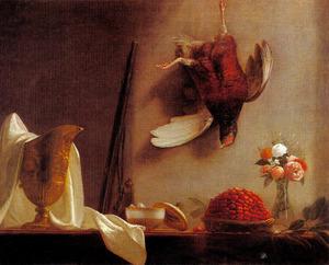 Stilleven met aardbeien, bloemen en een gouden urn