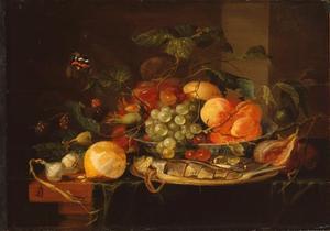 Stilleven met citroen en haring