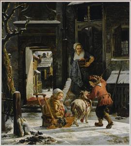 Winters stadsgezicht met kinderen die sleetje rijden en een vrouw die in de deuropening toekijkt