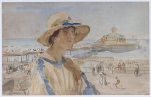 Dame op het terras bij de pier van Scheveningen