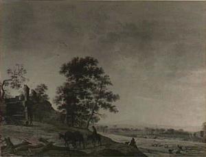 Weids landschap met reiziger en geitenherder; links achter een ruïne