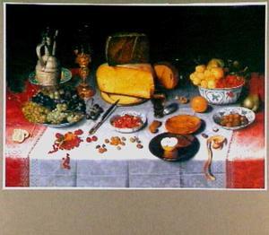 Ontbijtstilleven met kaas, vruchten en drinkgerei