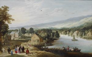 Gezicht op een dorp in een rivierlandschap met elegant gezelschap op de voorgrond