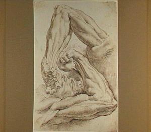 Anatomiestudie van kop en schouder met linkerarm in twee posities