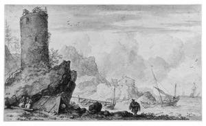 Rotsachtige kust met een ronde toren