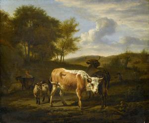Heuvelachtig landschap met vee en herders