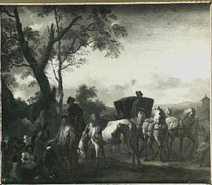 Reizigers bij een zigeunerkamp