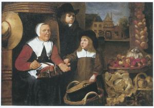 Twee jongens bij een groenten- en fruitverkoopster buiten de St. Jorispoort, Dordrecht
