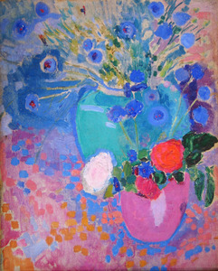 Stilleven met bloemen in vazen