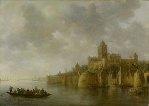 Gezicht op het Valkhof in Nijmegen, gezien vanuit het noordwesten