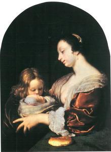 Jonge vrouw met twee kinderen