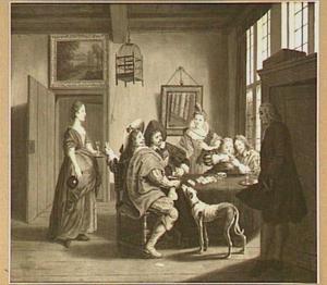 Kaartend gezelschap in een interieur, in zeventiende-eeuws kostuum