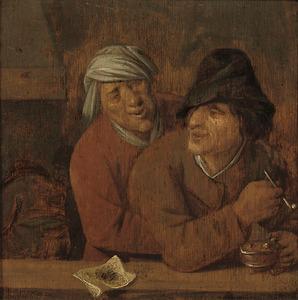 Twee rokende boeren in een herberg