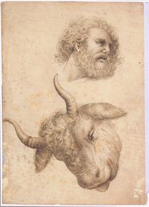 Kop van een man met baard en kop van een stier