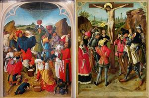 De inzameling van het manna (binnenzijde links), de kruisiging (midden); De H. Barbara (fragment buitenzijde links; in grisaille)