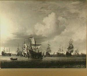 De veroverde schepen 'Swiftsure', 'Seven Oaks', 'Loyal George' en 'Convertine' worden het Goereese Gat binnengebracht na de Vierdaagse Zeeslag, 11-14 juni 1666: episode uit de Tweede Engelse Zeeoorlog (1665-1667)