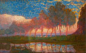 Row of eleven poplars in red, yellow, blue and green