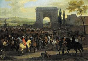 Zuidelijk landschap met een paardenmarkt, in de achtergrond de Porte Saint-Denis van Parijs