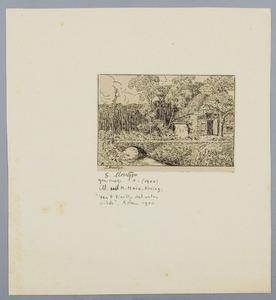 Landschap met huis en brug