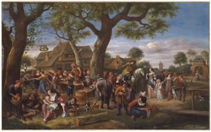 Feestende boeren bij een herberg