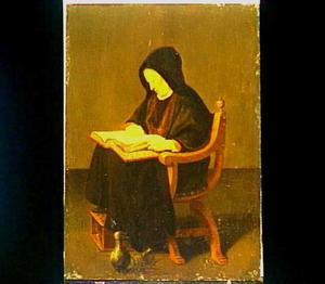 Bijbellezende zittende oude vrouw