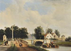 Gezicht vanaf de Trekweg (de huidige Bontekoekade) in Den Haag op de oude spoorbrug over de Trekvliet