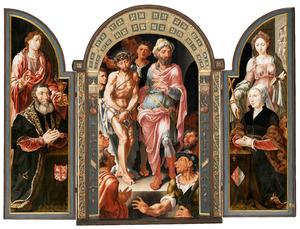 De H. Johannes de Evangelist met Jan van Drenckwaerdt (links), Ecce Homo (midden), de H. Margaretha  met Margaretha de Jonge van Baertwyck (op de buitenzijde in grisaille: de HH. Johannes de Evangelist en Margaretha)