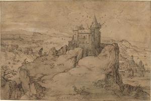 Landschap met een kasteel over een haven