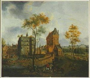 Gezicht op een stadspoort van Mechelen