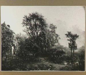 Landschap met huis en een vijver