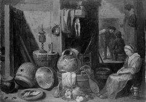 Keukeninterieur met slapende vrouw