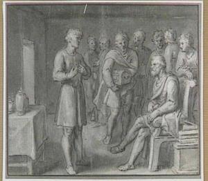 Interieur met figuren rond een zittende man