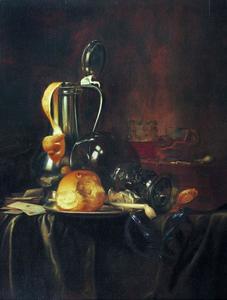 Stilleven met roemer, kan met deksel, citroenschil, brood, pijp en horloge