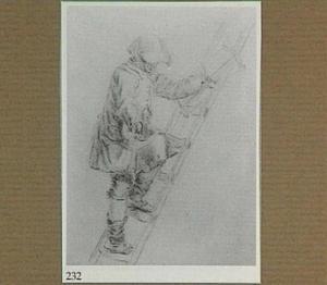 Man met zaag op een ladder
