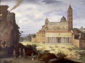 Gezicht op de westgevel van de Santa Maria Maggiore, voor de verbouwing van 1611