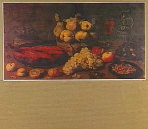 Stilleven van kreeften, vruchten, mosselen en garnalen