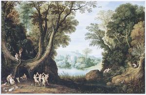 Boslandschap met dansende saters