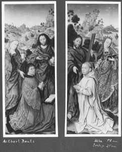 Biddende kannunik voor een bidstoel met H. Maria Magdalena en H. Johannes de Doper, met op de achtergrond de Doop in de Jordaan (linkerluik); Geknielde karthuizer monnik met H. Andreas en H. Catharina, met op de achtergrond H. Christoffel (rechterluik)
