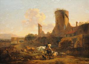 Italianiserend landschap met een herder en vee bij een stadsmuur