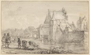 Ruiters en herder voor de oude Delftsche Poort te Rotterdam