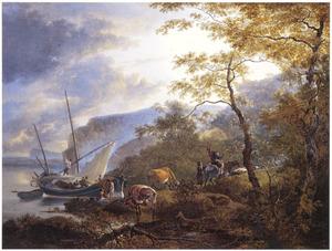 Zuidelijk berglandschap met zeilboot bij een aanlegplaats